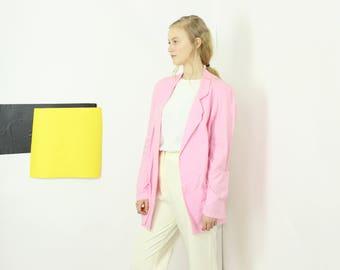80s pink BLAZER casual cotton blazer with pink pop medium large
