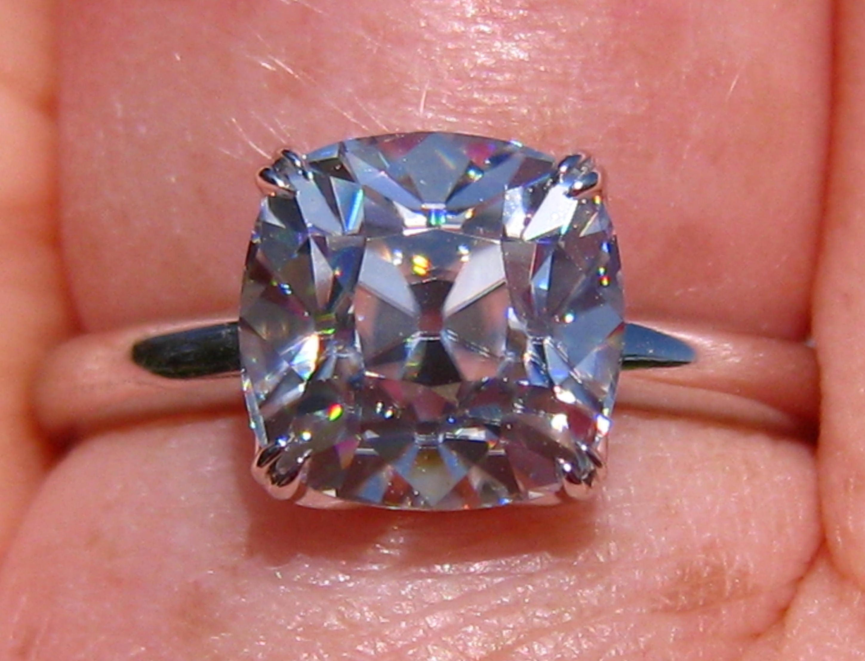 Old Mine Cut Classique Moissanite Engagement Ring White Gold