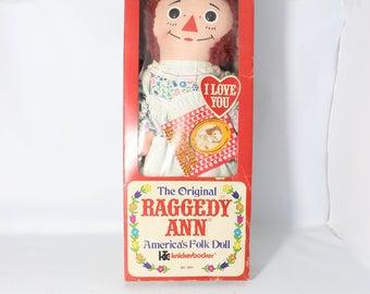 Vintage  Raggedy Ann 1971 Johnny Gruelle Knickerbocker #0001 With Original Box