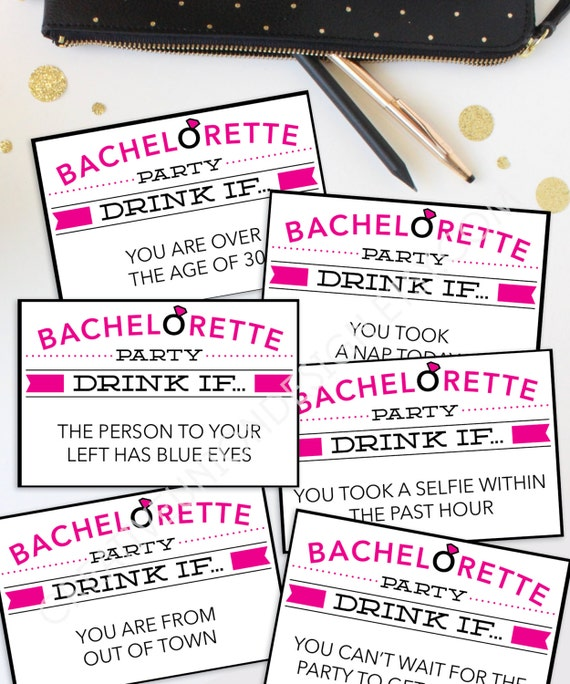Bachelorette Party Game Drink If Game Printable
