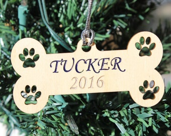 Personalized Christmas Ornament Dog Name & Year Engraved Wood Pet Lover Furry Friend Gift Wooden Holiday Christmas Tree Bone Paws Prints