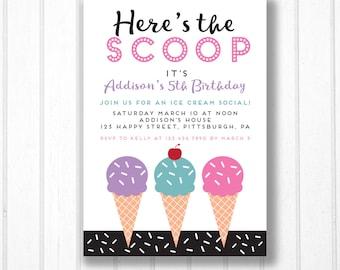 Ice Cream Party Invitation - Ice Cream Social Birthday - Printable Invitation