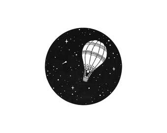 Up Up and Away Hot Air Balloon Art Print (A5)