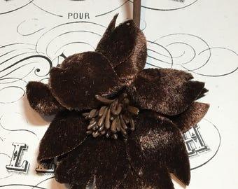 Rich brown velvet millinery flower