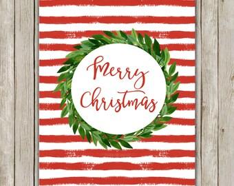 8x10 Christmas Printable Art, Merry Christmas, Typography Print, Typography Art, Wreath Poster, Holiday Decor, Christmas Instant Download