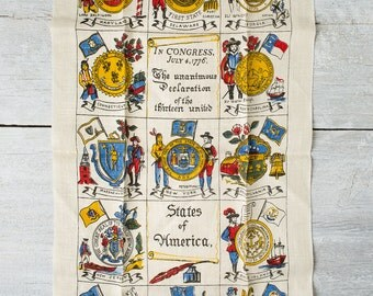 Vintage Kitchen Linen Towel - Declaration of the Thirteen United States  - Dish Towel -  Kay Dee