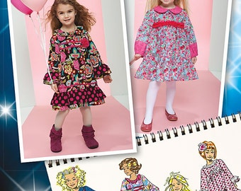 Simplicity 1547 Toddlers and Girls Project Runway Dresses with Ruffle and Trim Variations. Size 1/2-3. Pattern is new and uncut.