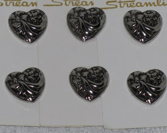 Heart Buttons Set of 6 Shank Streamline Antique Silver Style Floral