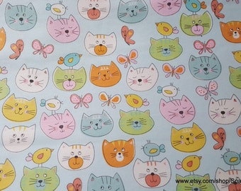 Flannel Fabric - Cat Faces on Light Blue - 1 yard - 100% Cotton Flannel
