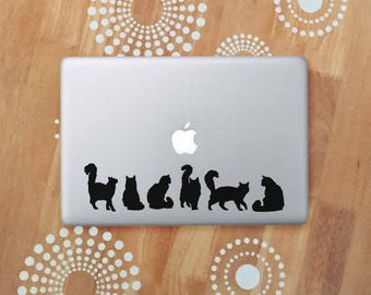 Fluffy Cat Laptop Decal, Black Cat Stickers, Cat Silhouette Vinyl Decal, Cat Car Decal, Fluffy Cats Decals
