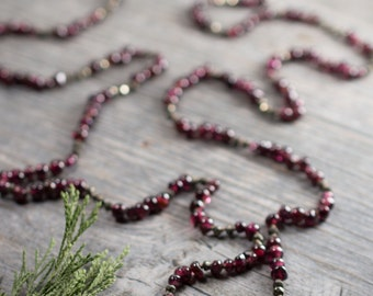 Garnet and Pyrite Long Necklace    Hand Knotted Silk Cord   Gemstone Necklace