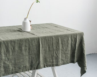 FREE SHIPPING | Washed linen pine green color tablecloth, Soft linen tablecloth, Rustic linen tablecloth, Natural linen tablecloth