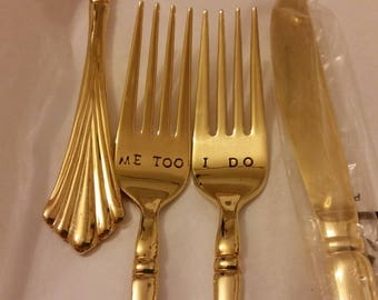 3pc Gold Wedding Forks I DO ME TOO  + Knife 201? Vintage 24K Gold plated flatware Hand Stamped Wonky Recycled Gatsby wedding Cake Forks