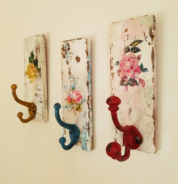 Decorative Wall Hooks Shabby Cottage Coat Rack Towel Rack