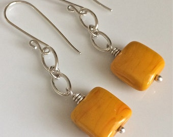 Yellow Venetian Glass Earrings / Opaque Yellow Earrings / Square Glass Earrings / Sterling Silver Earrings