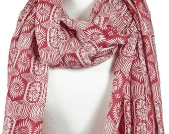 Red Print Scarf, Cotton and Silk Blend Natural Fabric, Ladies Large Oversized Scarf