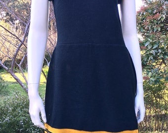 1920's Gantner & Mattern Black and Yellow Wool Skirted Swimsuit. Large size