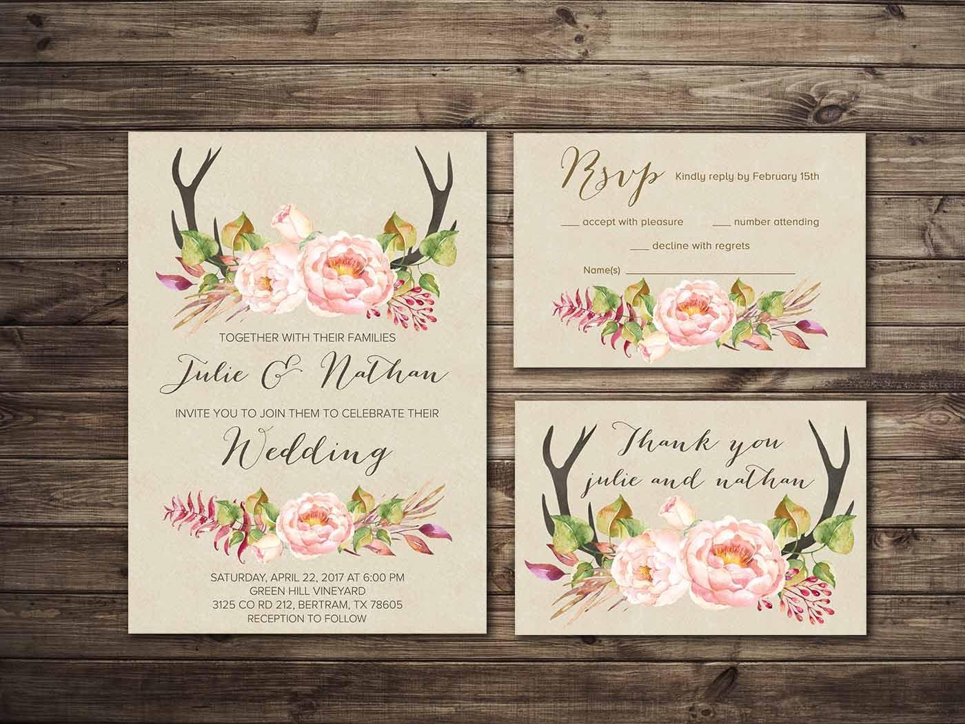 Print Out Wedding Invitations: Boho Wedding Invitation Printable Floral Wedding Invitation