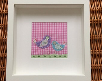 """Personalised """"Shabby cheep!"""" bird appliqué picture"""