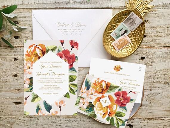 Tropical Wedding Invitations: Destination Wedding Invitation Tropical Wedding By