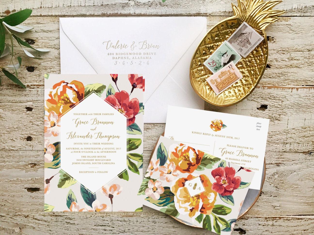 Destination wedding invitation tropical wedding by for Tropical wedding invitations