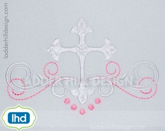 Cross Machine Embroidery Design -- Baptism Fancy Cross Grouping with Satin Scroll Easter Embroidery Design REL065