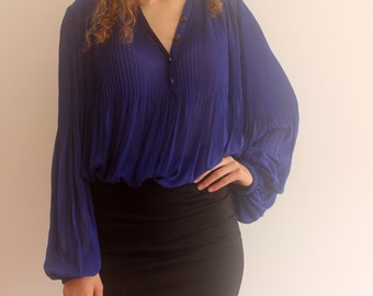 Pleated blue blouse