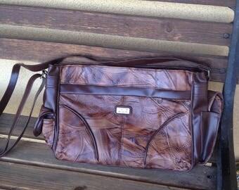 Brown Patchwork Bag, Leather Patchwork Handbag, Brown Leather Purse, 80's Handbag, Brown Handbag, Leather Patchwork, Brown Purse, Patchwork