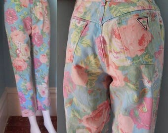 Vintage 1980's Palmetto's High Waist Denim jeans pastel flower print tight ankle faded crop pencil pants  80's Valley girl 9/10