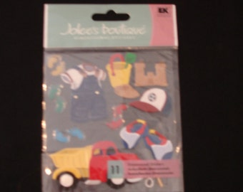 Jolee's Boutique- Toddler Boy-11 Dimensional Stickers-Toys, Truck, Overalls- New