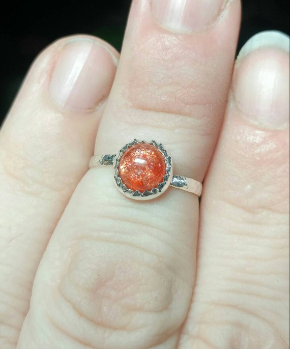 Simple Sunstone Ring | Indian Sunstone Ring | Sterling Silver Ring Sz 6.5 | Confetti Sunstone Ring | Simple Orange Gemstone Ring