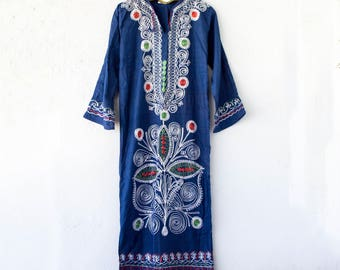 Vintage 70s Indian Hippie Boho Caftan // Embroidered Long Maxi Blue White Dress // Beach Swimsuit Cover Up