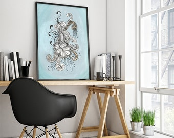 Art Print of An Original Ink Drawing Psychedelic Doodles Ink Gouache