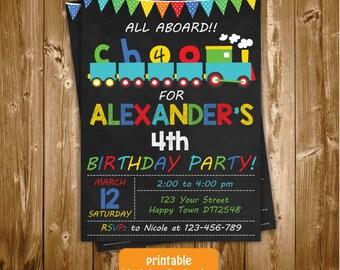 Any Age Printable Chalkboard Choo Choo Train 7th 8th 9th 10th Birthday Invitation,Train Birthday Invite,Choo Choo Birthday Invitation