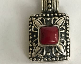 Taxco Red Jasper Sterling Pendant 925 SIlver Mexico Mexican Slide Enhancer Vintage Jewelry Southwestern Birthday Mother's Gift Valentine's
