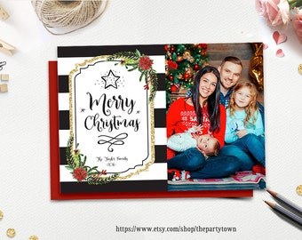 Christmas Card, Photo Christmas Card, Black and White Gold Stripe Floral, Merry Christmas, Happy Holidays, Holiday Card, DIY Printable