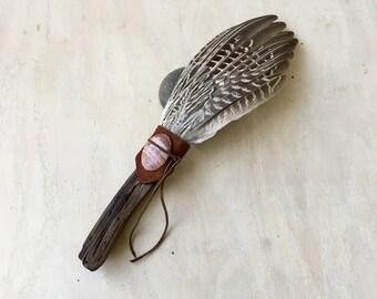 Drift Wood, Pheasant, Dragon Vein Agate, Clearing Smudge Fan, Native American, Ceremonial Feathers, Reiki Energy Healing, OOAK