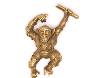 Monkey Brooch, Designer Signed Vintage, Monkey Holding a Diploma, Large Pin