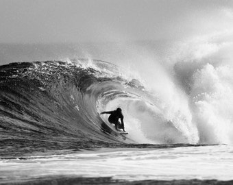 Black and White Surf Photo, Wave Art, Surfing Hawaii, Surfer Photography Waves, Beach Print