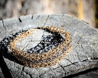 Woven Oxidized Silver and Gold bracelet