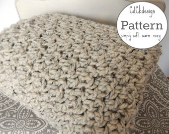 Crochet Pattern//Chunky Crochet Throw Blanket - Chunky Crochet Blanket - Chunky Afghan - Farmhouse Decor - Beginners Pattern