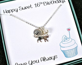Sweet 16 Necklace, Sweet 16 Gifts Girls, 16th Birthday Gift Girl, Personalized, Daughter Gift, Sweet 16 Card, Cat Necklace, Dog, Pet Lover