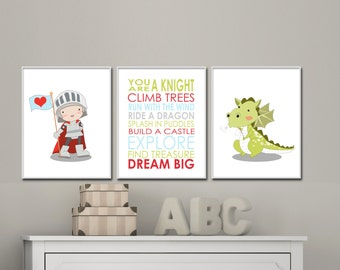 Baby Boy Nursery Art Prints. Knight and Dragon Nursery Art Prints. Baby Nursery Quote Art. Custom Colors - H232