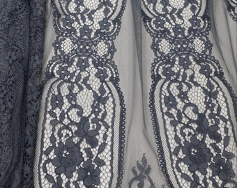 Gray lace fabric, French Lace, Chantilly Lace, Bridal lace Wedding Lace Evening dress lace Scalloped Floral lace Lingerie Lace yard L710912