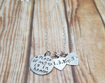A Piece of My Heart is in Heaven Necklace - Custom Memorial Necklace -  Memory Necklace - Custom Name Necklace
