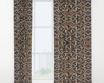 Window Curtain / Exclusive Kuba Cloth Design - Variation #2 / Polyester Fabric