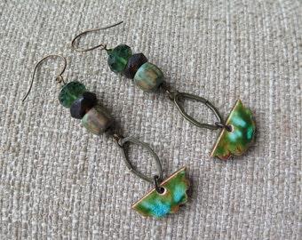 green earrings, green and brown earrings, rustic earrings, organic earrings, brass earrings, long earrings, long green earrings, boho