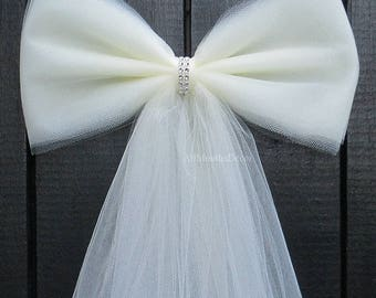 Tulle Bling Pew Bow | Ivory, White, Pink | Wedding Ceremony Decorations | Church Aisle Chair | Bridal Baby Girl Shower | Assembled