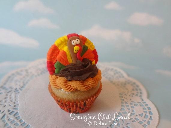 Fake Cupcake Fall Autumn Thanksgiving Turkey Faux Dessert Decoration Kitchen Decor