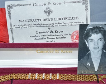 Jackie kennedy Gold  Pave Crystal Bracelet Camrose & Kross, with box, C.O.A and a picture of Jackie  ships in 24 Hrs